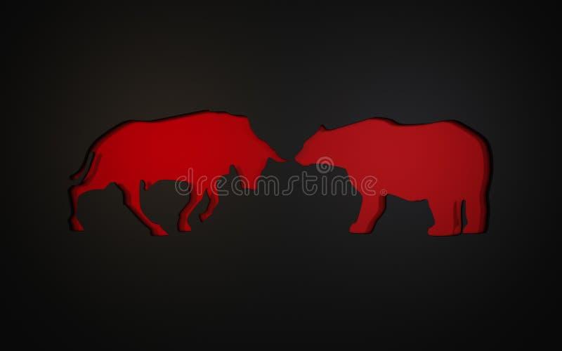 标志的补花用于股票市场牛市与熊市的  3d翻译 库存例证