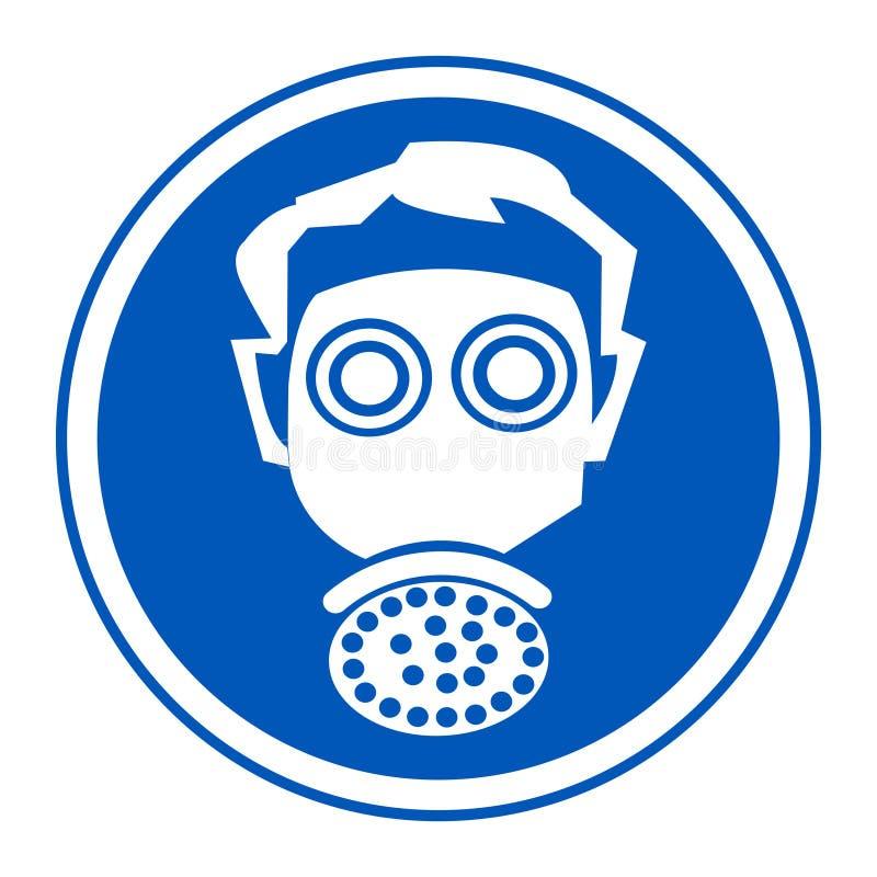 标志穿戴人工呼吸机保护在白色背景,传染媒介例证EPS的标志孤立 10 皇族释放例证