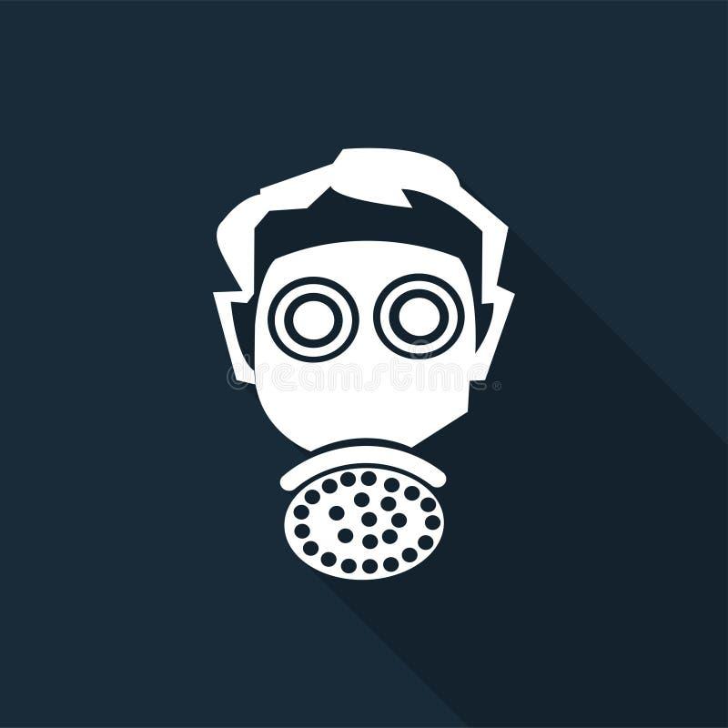 标志穿戴人工呼吸机在黑背景,传染媒介例证的保护标志 库存例证