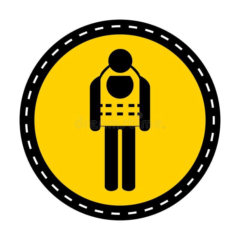 标志穿戴在白色背景,传染媒介例证的救生衣孤立 库存例证