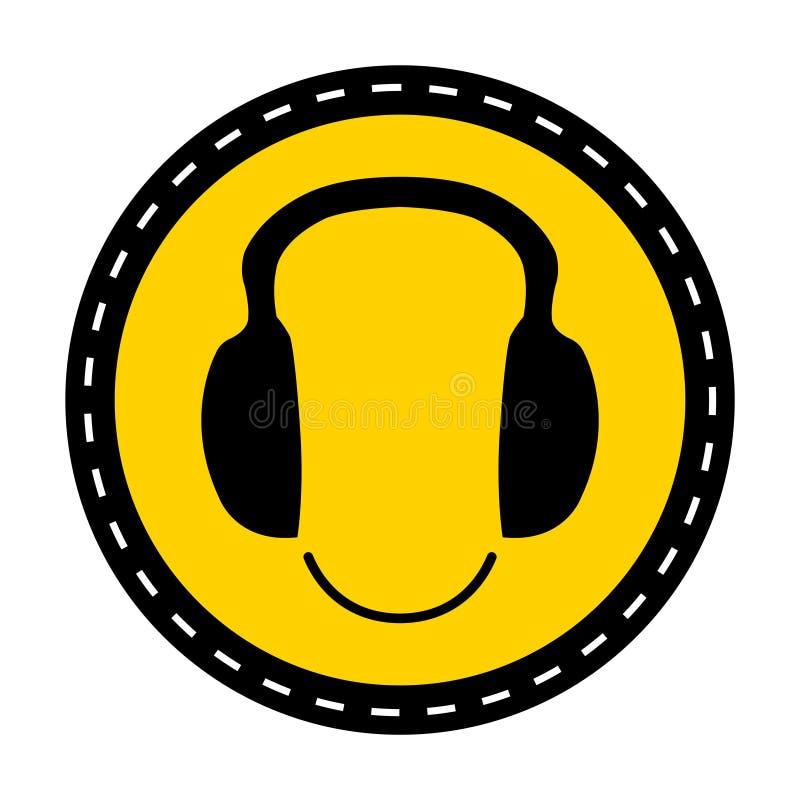 标志穿戴在白色背景,传染媒介例证的耳朵保护标志 皇族释放例证