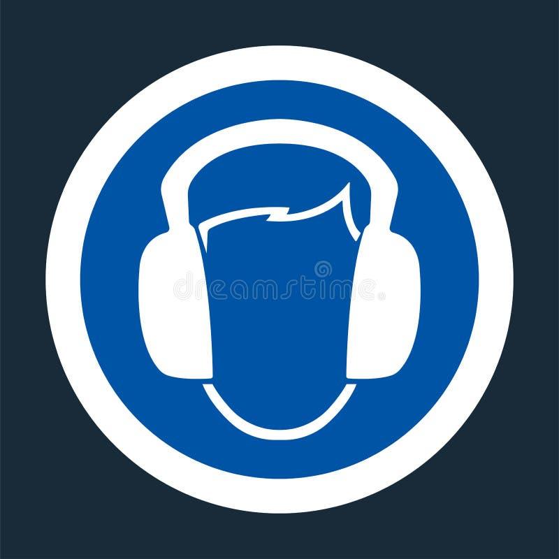 标志穿戴耳朵在黑背景的笨拙的人标志 库存例证