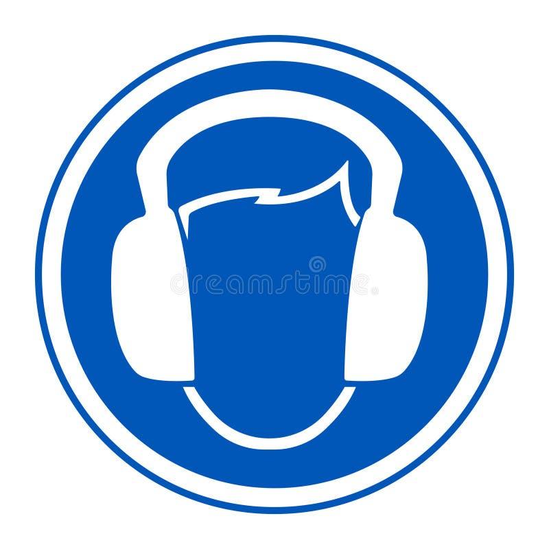 标志穿戴耳朵笨拙的人在白色背景,传染媒介例证EPS的标志孤立 10 向量例证