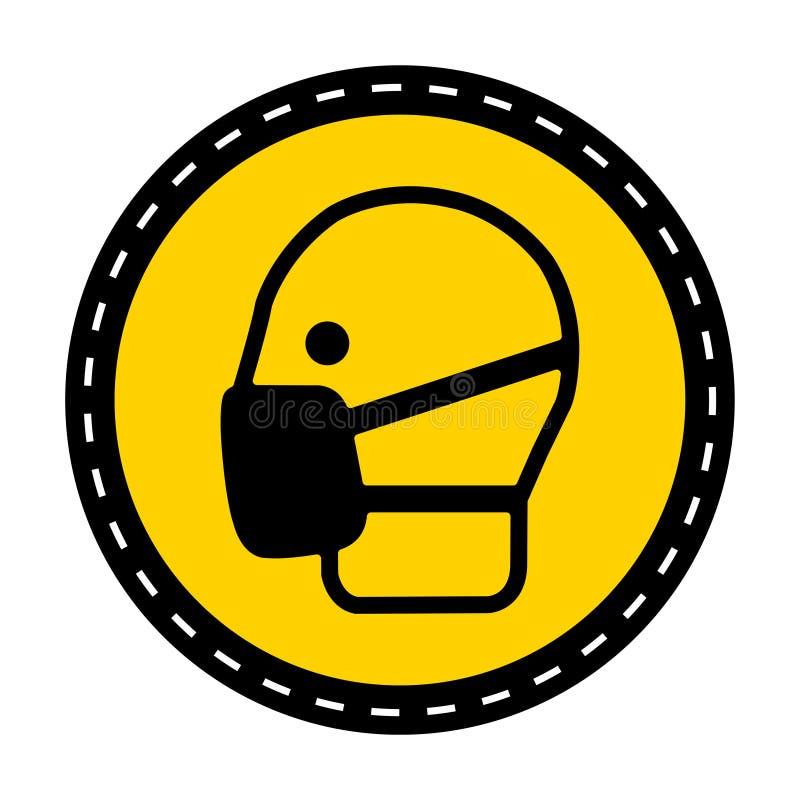 标志穿戴面具在白色背景,传染媒介例证签字 向量例证