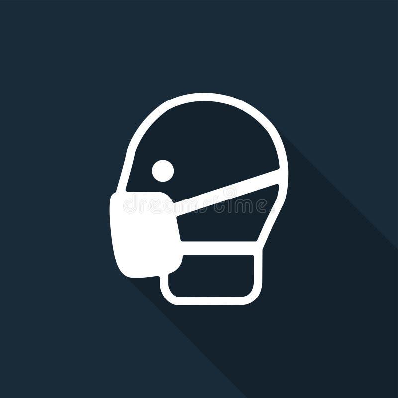 标志穿戴面具在黑背景,传染媒介例证签字 向量例证