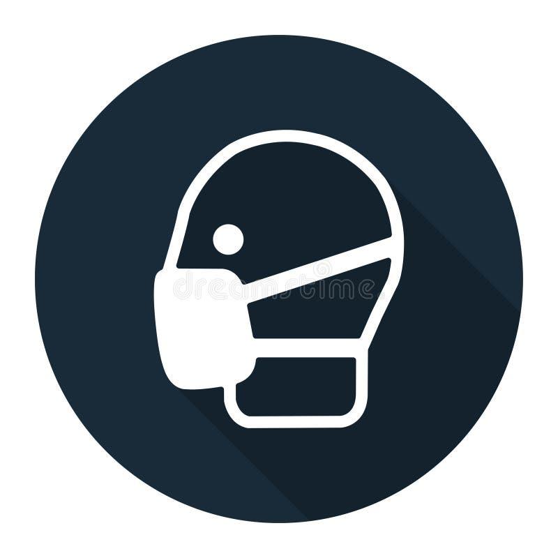 标志穿戴面具签署在白色背景,传染媒介例证的孤立 库存例证