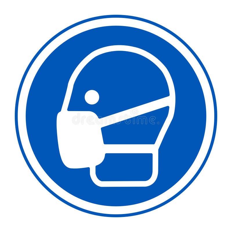标志穿戴面具签署在白色背景,传染媒介例证EPS的孤立 10 库存例证