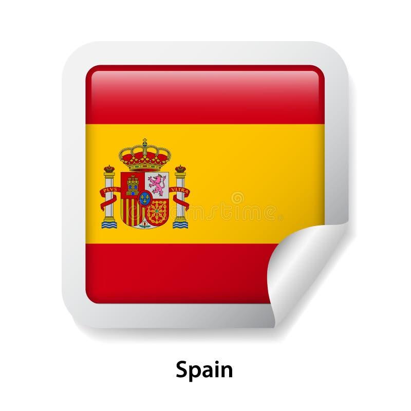 标志西班牙 圆的光滑的徽章贴纸 库存例证