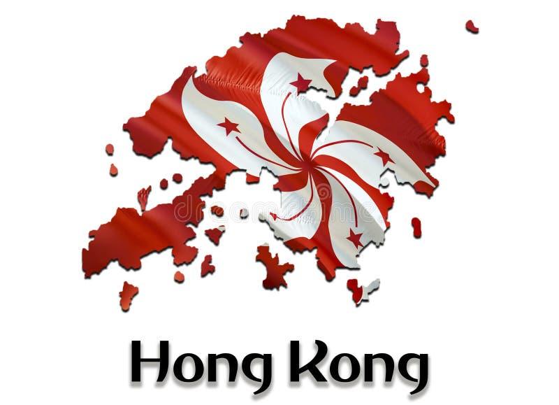 标志香港映射 回报香港地图和旗子在亚洲地图的3D 香港的国家标志 在亚洲的中国旗子 库存例证