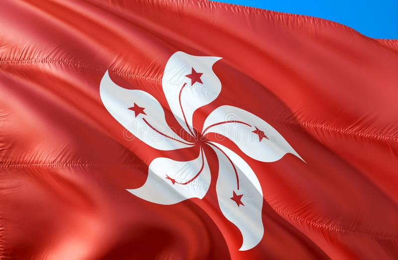 标志香港 3D挥动的旗子设计 香港的国家标志,3D翻译 香港背景的国家标志 皇族释放例证