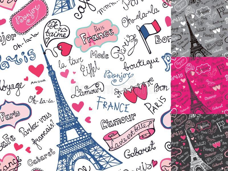 巴黎标志,在无缝的样式上写字 手 库存例证