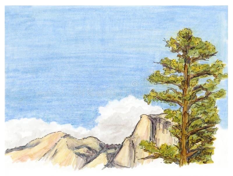 标志绘了山与杉树的风景视图剪影  库存例证