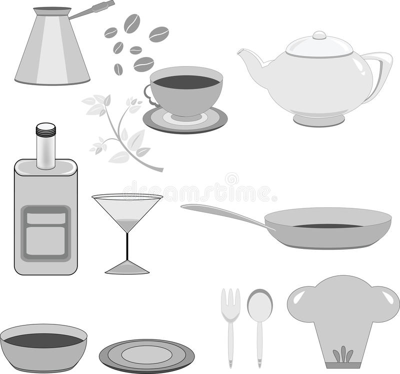 标志-餐馆和酒吧 向量例证