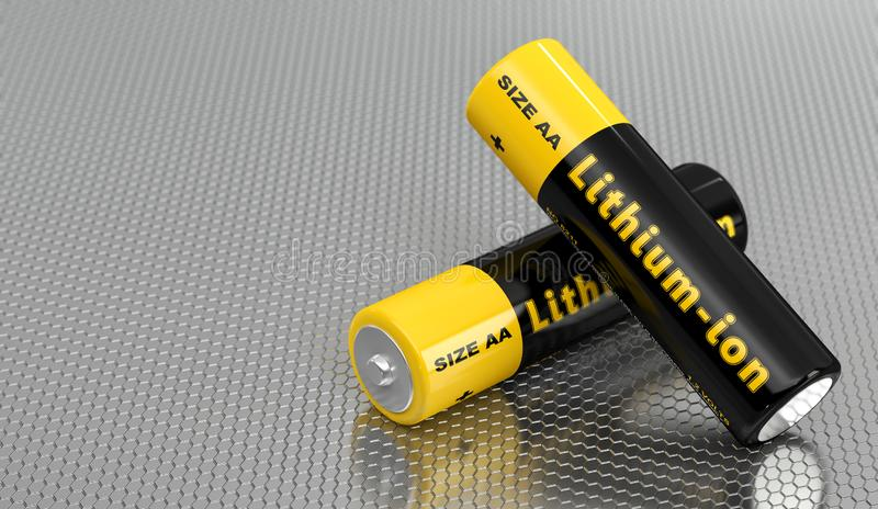 """标有""""锂离子""""的通用AA电池 库存例证"""