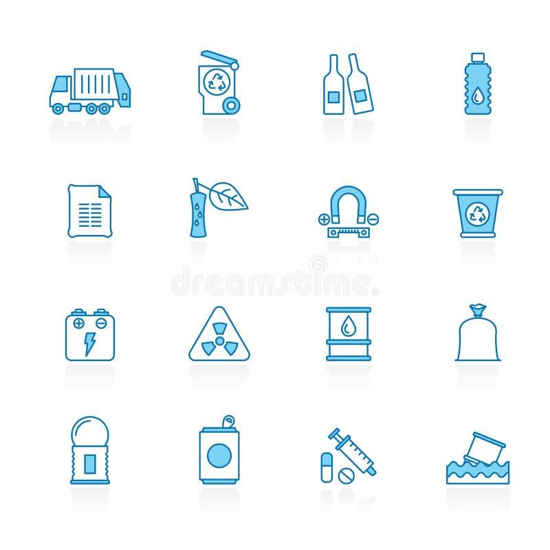 标示用蓝色背景垃圾和垃圾象 库存例证