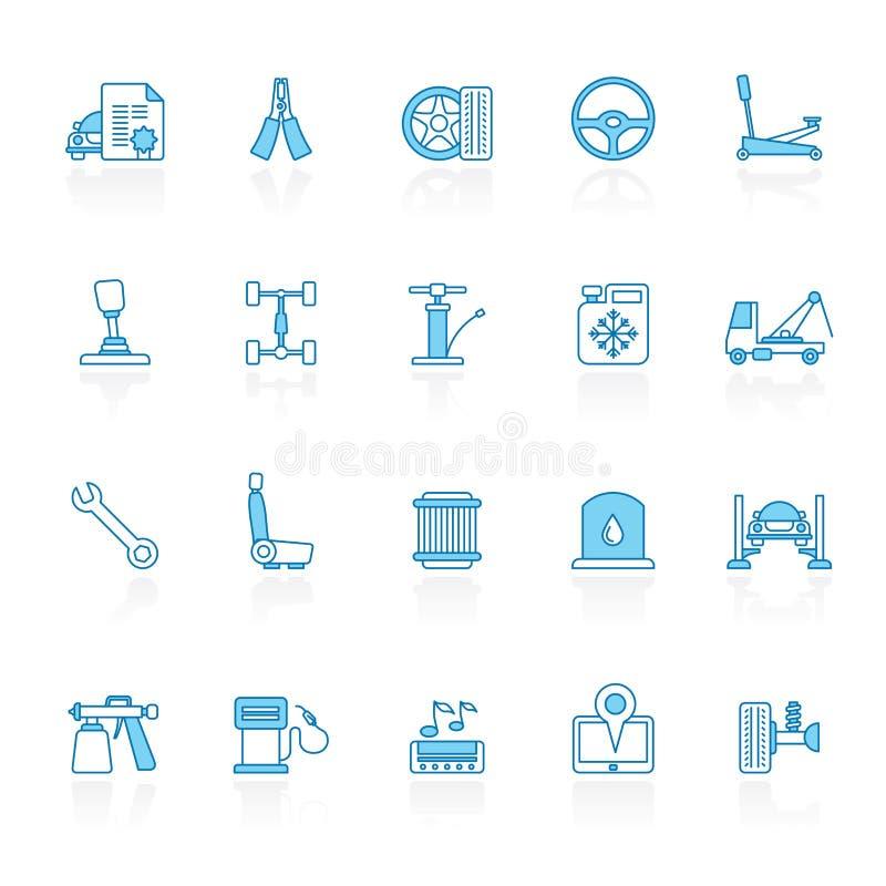 标示用蓝色背景自动服务和汽车零件象 库存例证