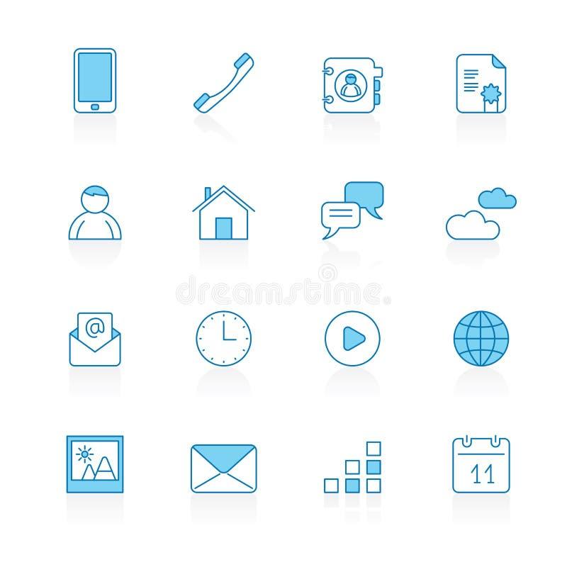 标示用蓝色背景通信、连接和手机象 库存例证