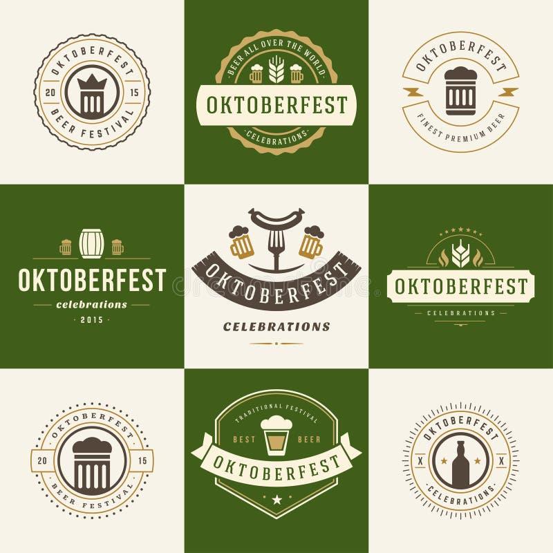 标签、徽章和商标设置了啤酒节日 向量例证