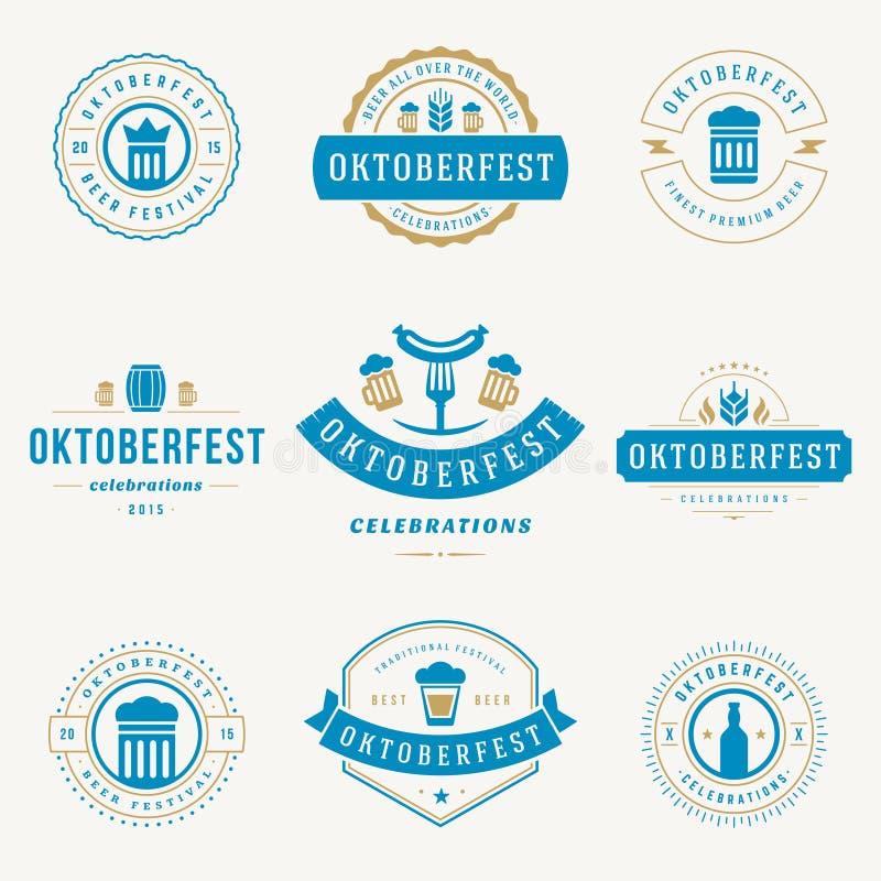 标签、徽章和商标设置了啤酒节日 库存例证