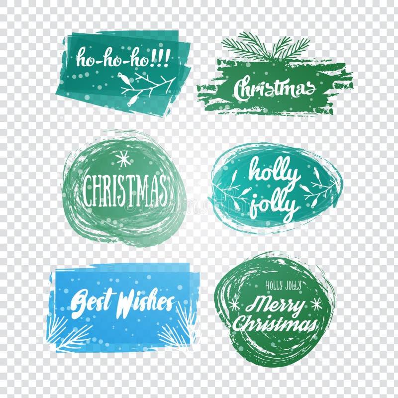 标签与圣诞节和新年设计 装饰标记和 图库摄影