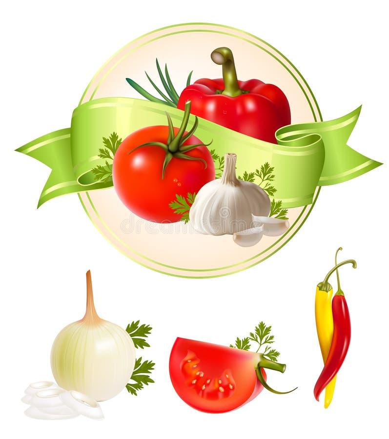 标签产品蔬菜 皇族释放例证
