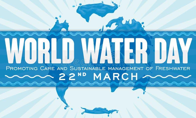 标签以纪念世界水天的含水地图设计,传染媒介例证 向量例证