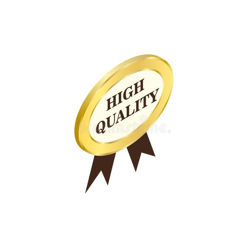 标签优质象,等量3d样式 向量例证