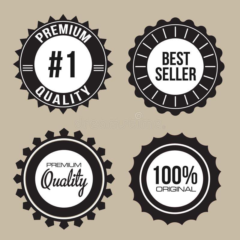 标签优质质量的封印汇集 库存例证