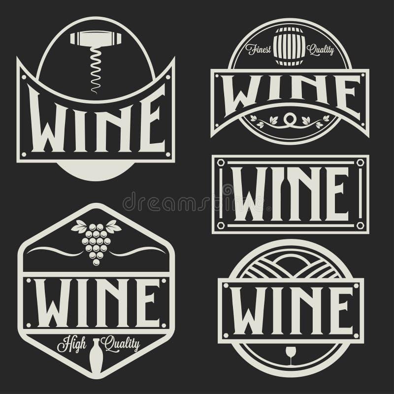 标签和酒的设计元素 皇族释放例证