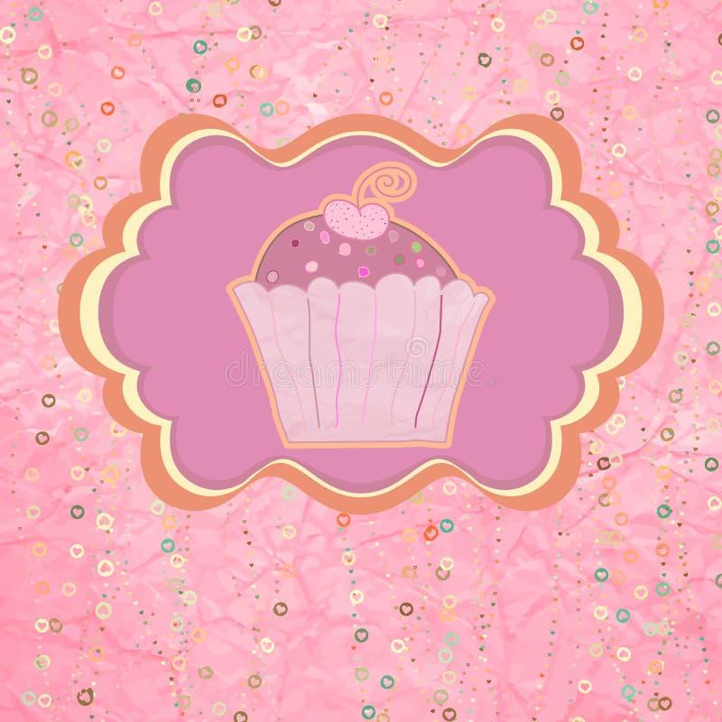 标签用在桃红色的杯形蛋糕与圆点。EPS 8 库存例证