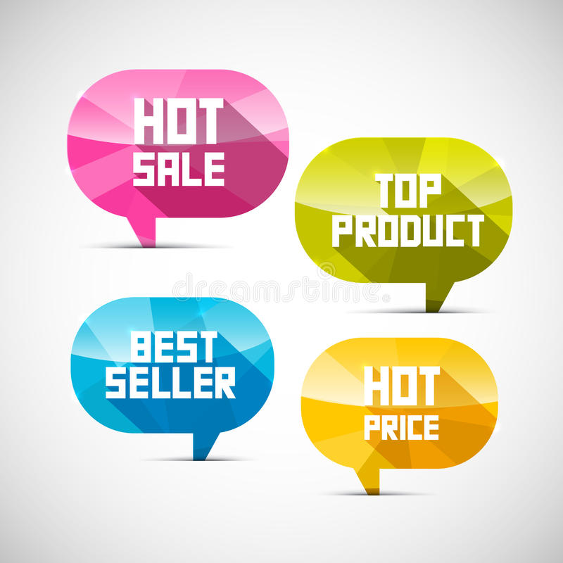 标签畅销品,顶面产品,热的销售,价格 向量例证