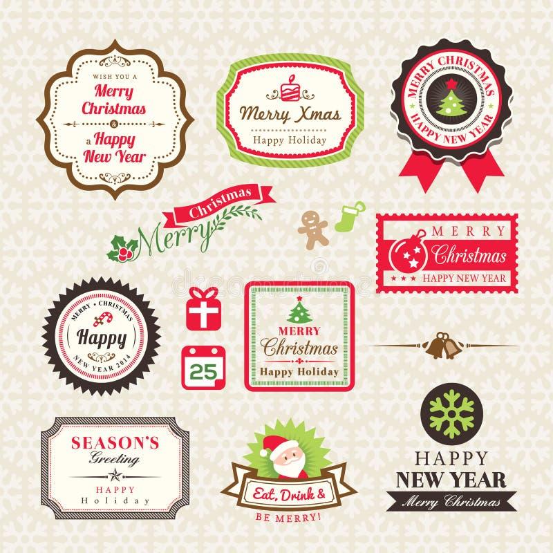 标签的圣诞节汇集和框架设计元素 库存例证