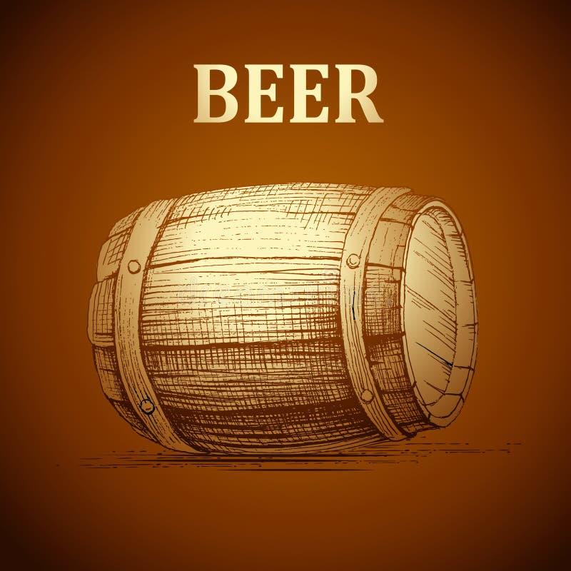 标签的,包裹啤酒小桶 葡萄酒桶慕尼黑啤酒节 库存例证