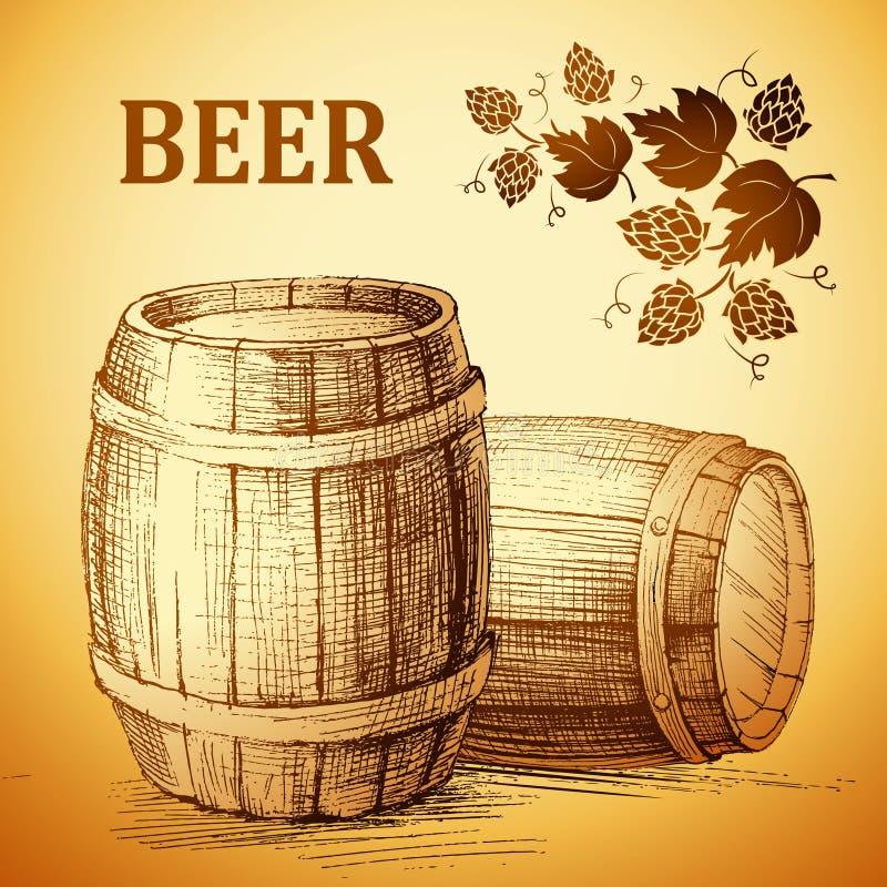 标签的,包裹啤酒小桶 葡萄酒桶 蛇麻草 免版税库存图片