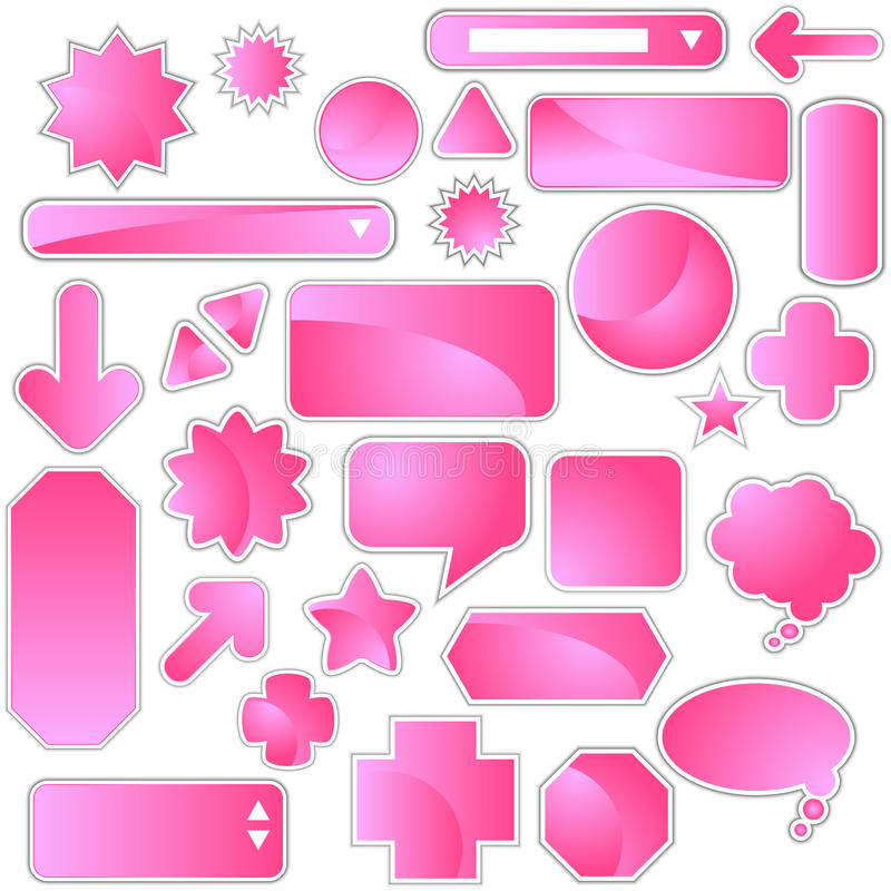 标签粉红色集 向量例证