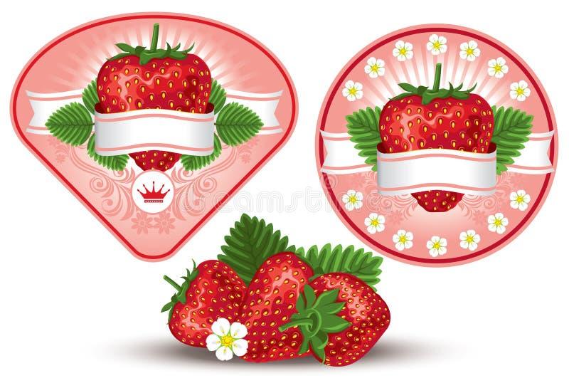 标签草莓 向量例证