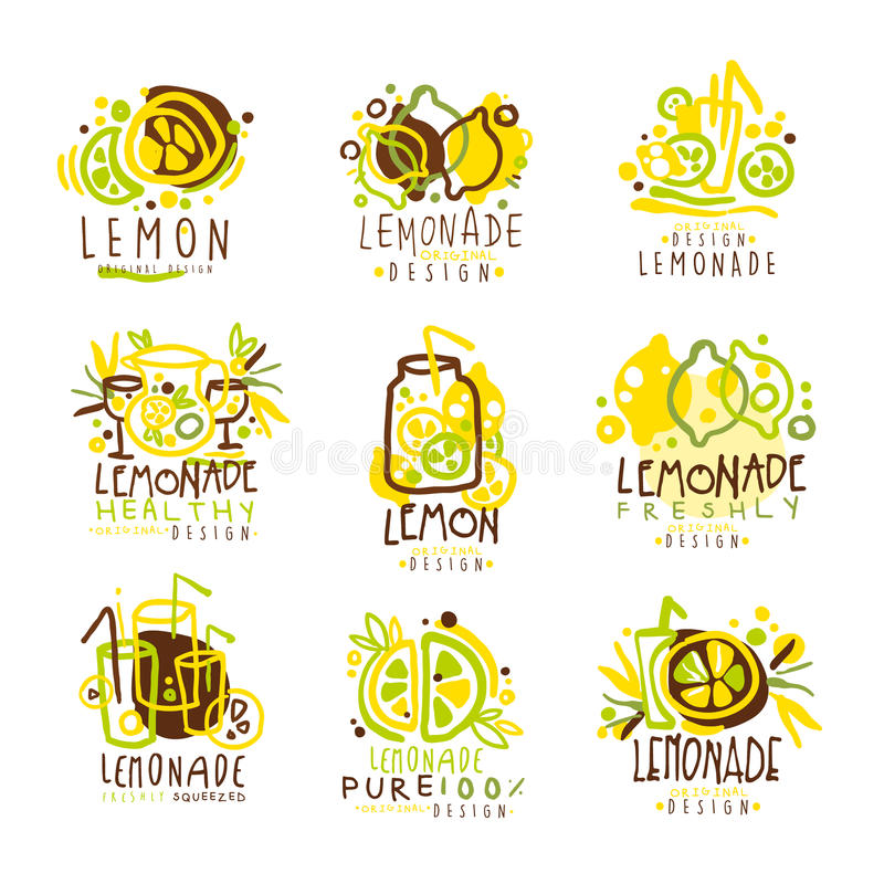 标签设计的柠檬水绿色和黄色集合 五颜六色的传染媒介例证 向量例证