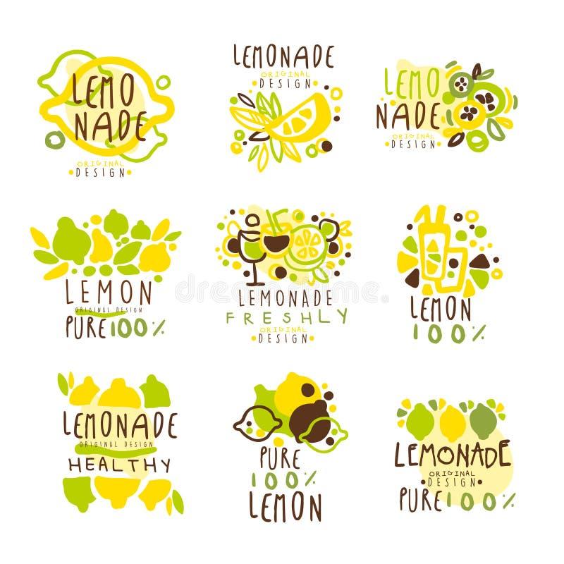 标签设计的柠檬水集合 五颜六色的传染媒介例证 库存例证