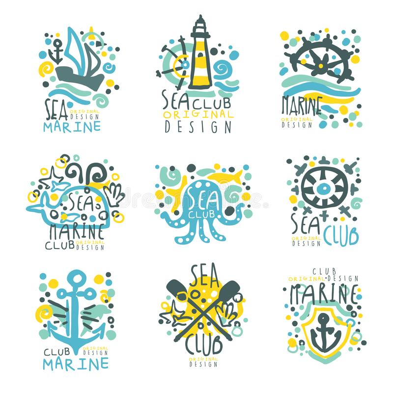 标签设计的海洋俱乐部集合 旅途,暑假,海滩集会,巡航手拉的五颜六色的传染媒介 向量例证