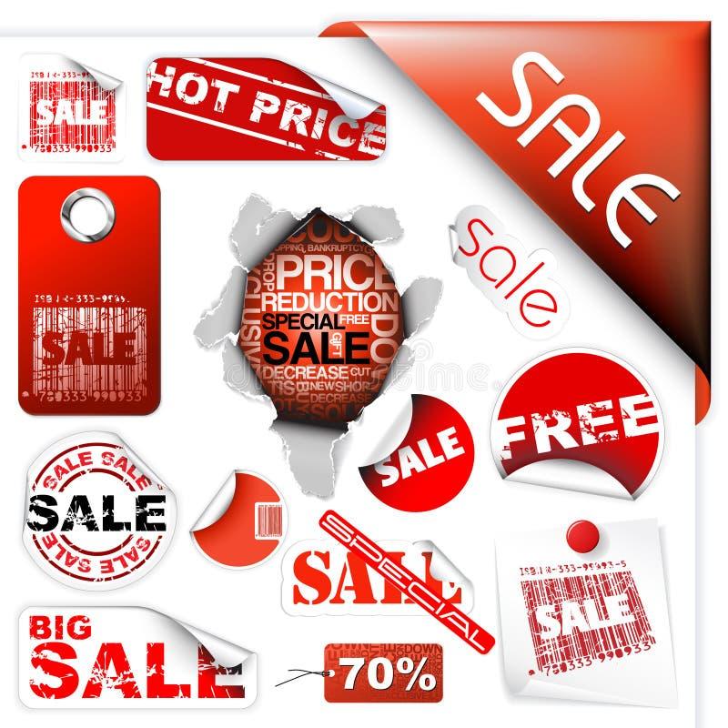 标签销售额集标记贴纸票 向量例证