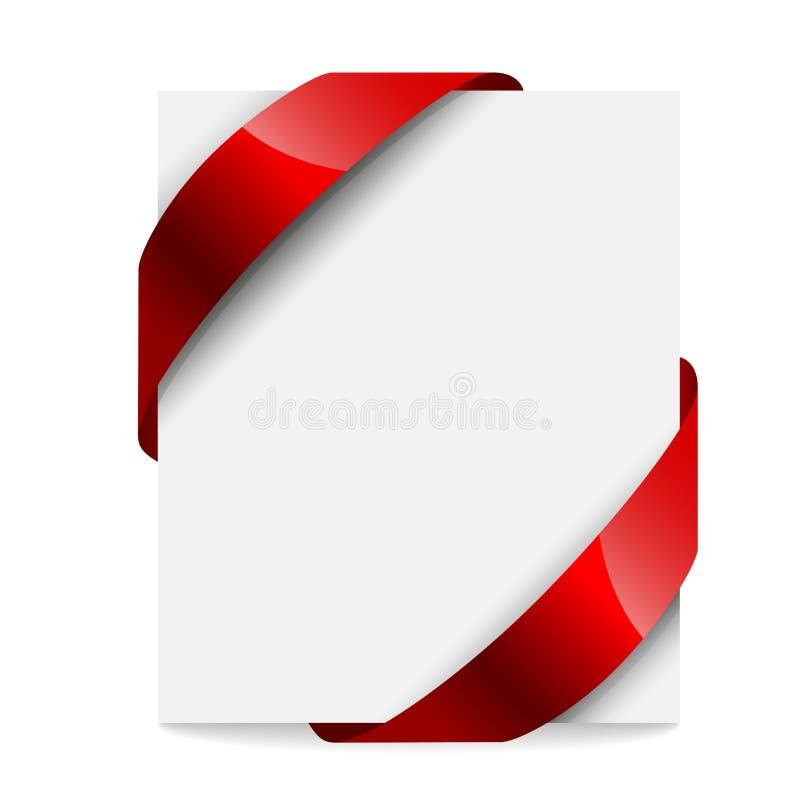 标签,与一条红色丝带的价牌 向量例证