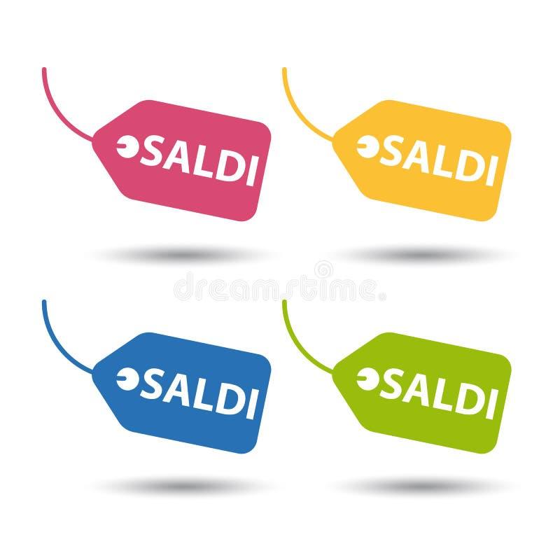 标签,标记集合SALDI -五颜六色的传染媒介例证-隔绝在白色 向量例证