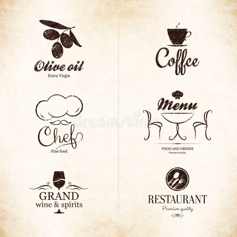 标签,餐馆菜单设计的商标集合 库存例证