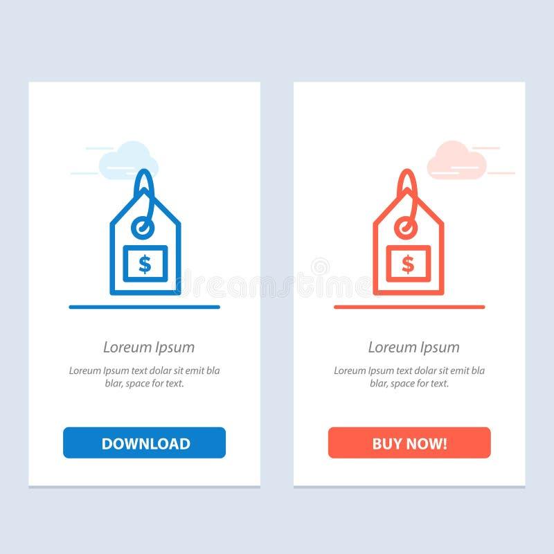 标记、美元、标签、接口蓝色和红色下载和现在买网装饰物卡片模板 向量例证