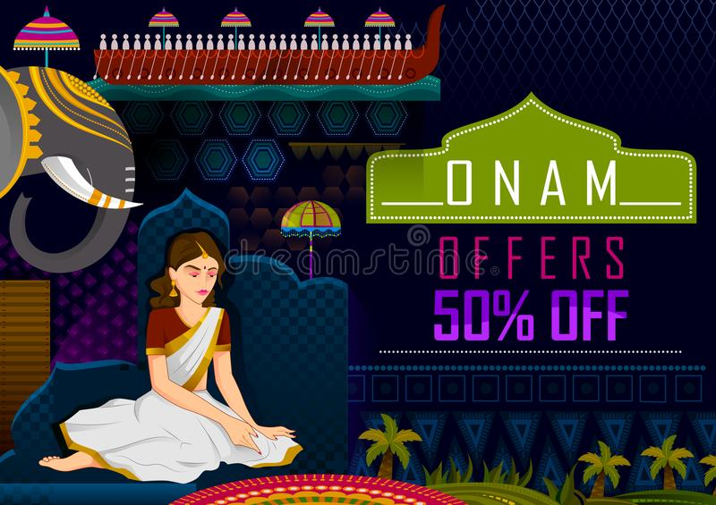 标记喀拉拉,印度的每年印度节日的愉快的Onam节日问候推销活动背景 向量例证