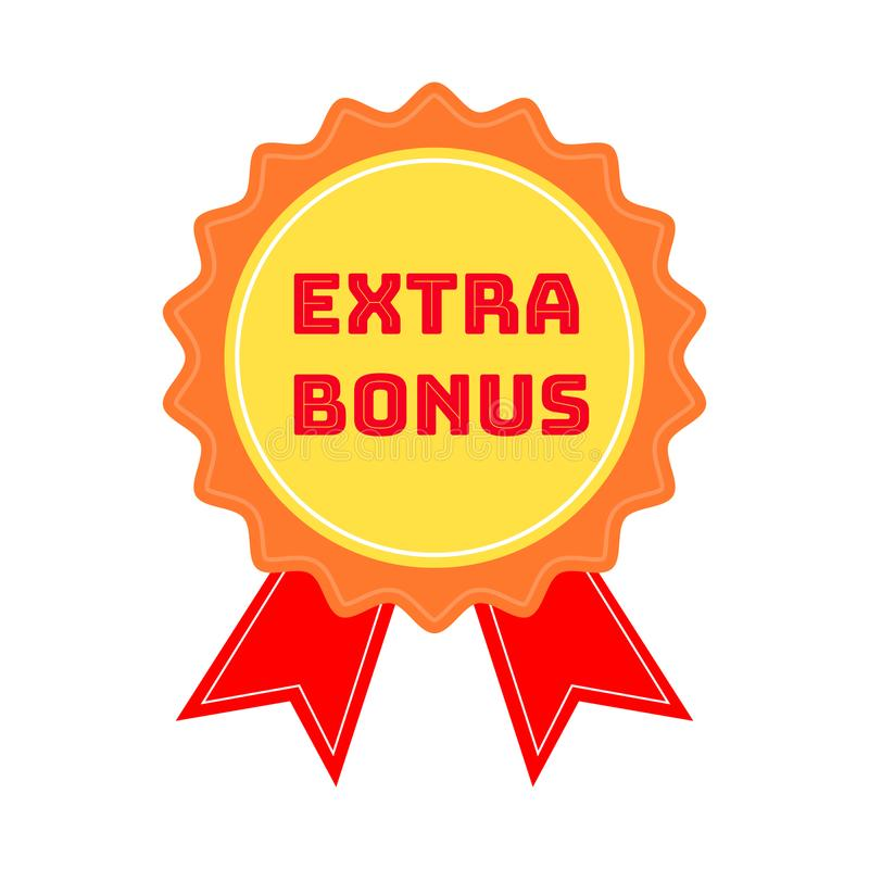标记或证章与在白色背景隔绝的文本额外奖金 超级奖金邮票 也corel凹道例证向量 向量例证