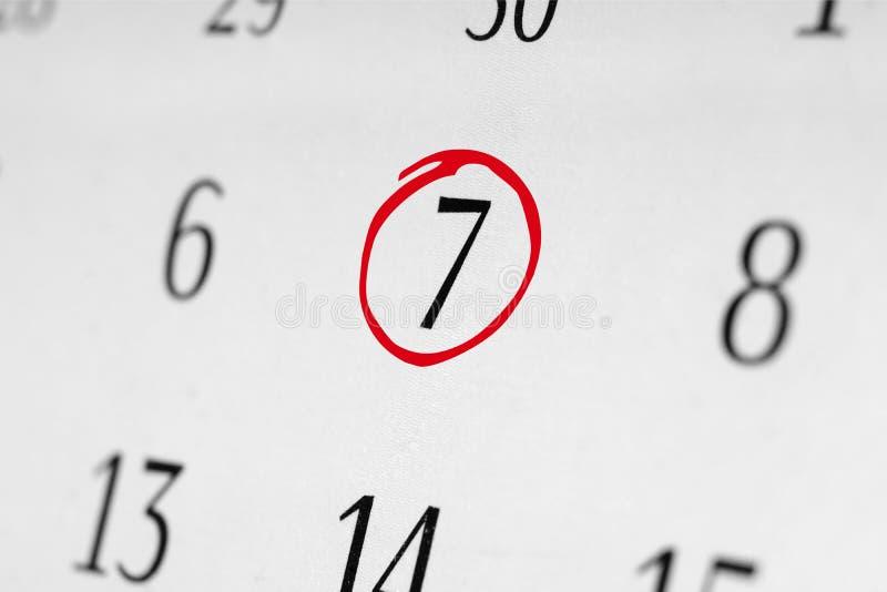 标记日期数7 免版税库存照片