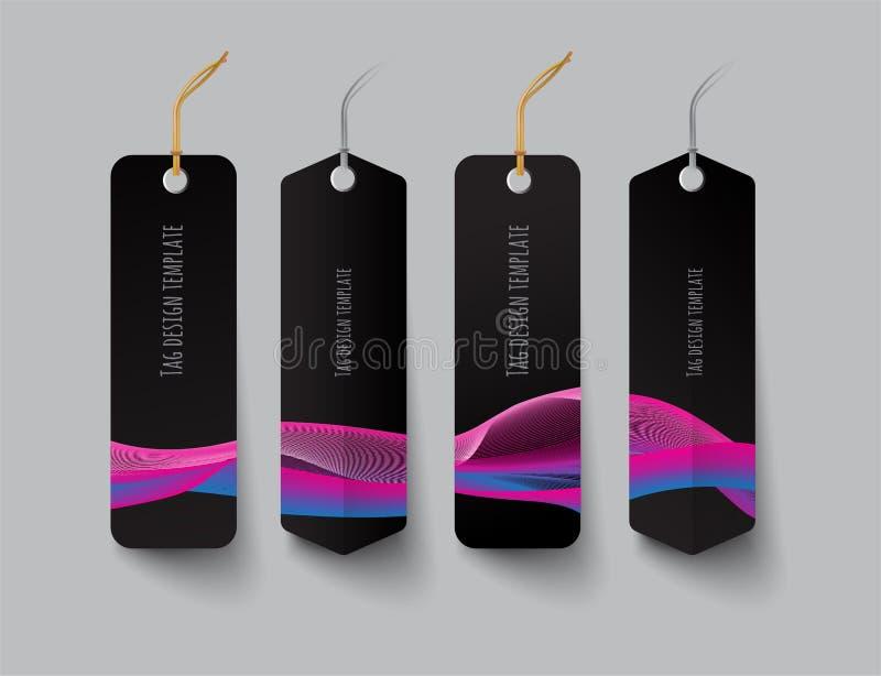 标记设计模板,颜色树荫条纹 皇族释放例证