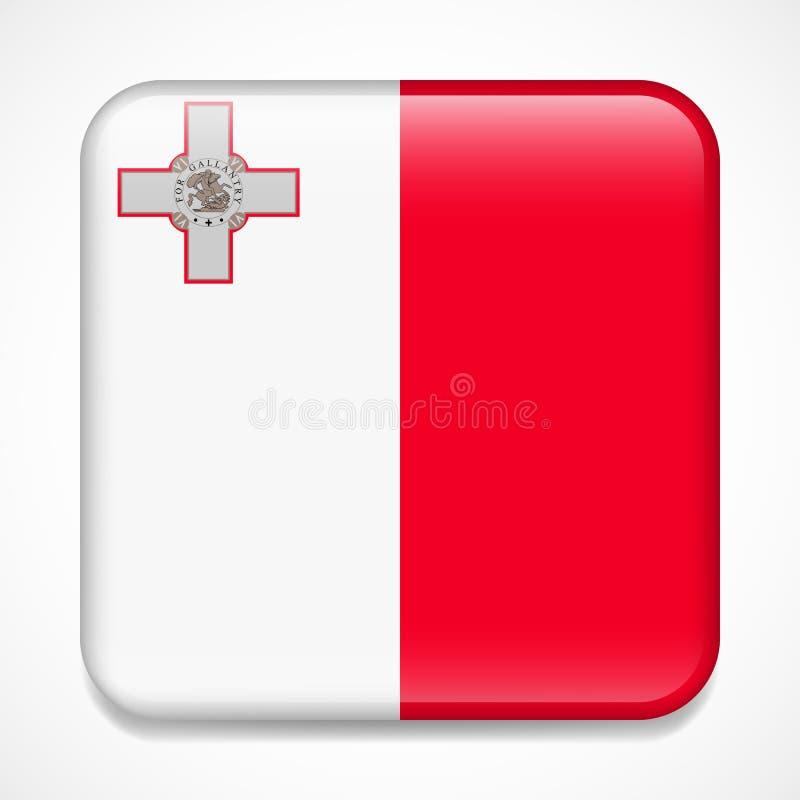 标记马耳他 正方形光滑的徽章 向量例证