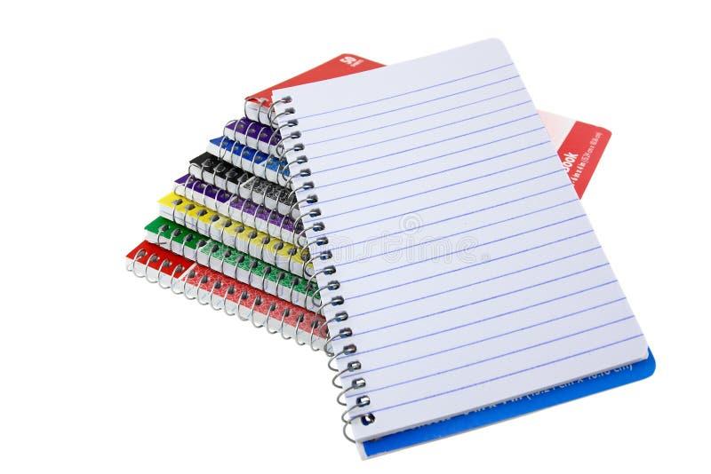 栈与空白页的螺纹笔记本 库存图片